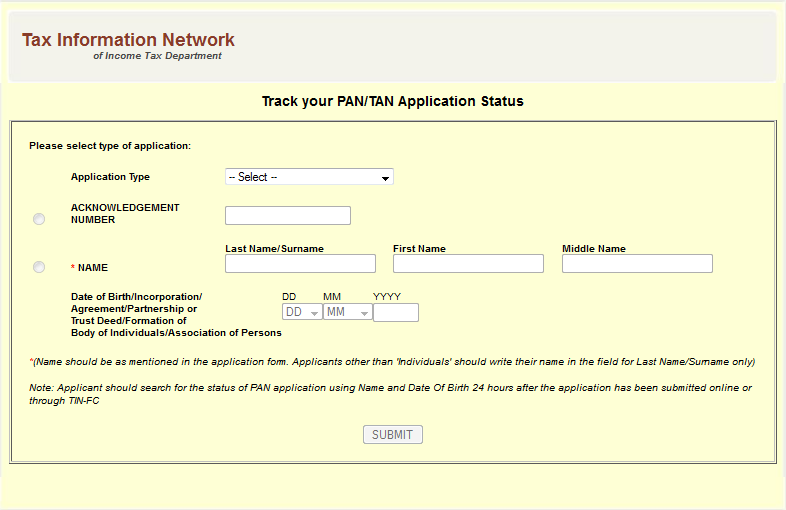 www tin-nsdl com pan card status check online