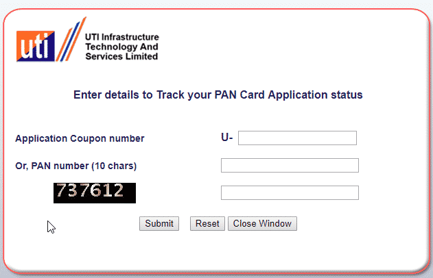 check pan card status uti