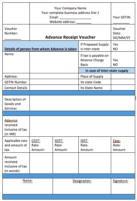 GST on Advance Payment Receipt Complete Detail with Voucher Format