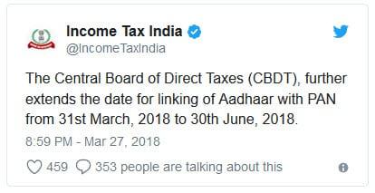 aadhar card linking twitter