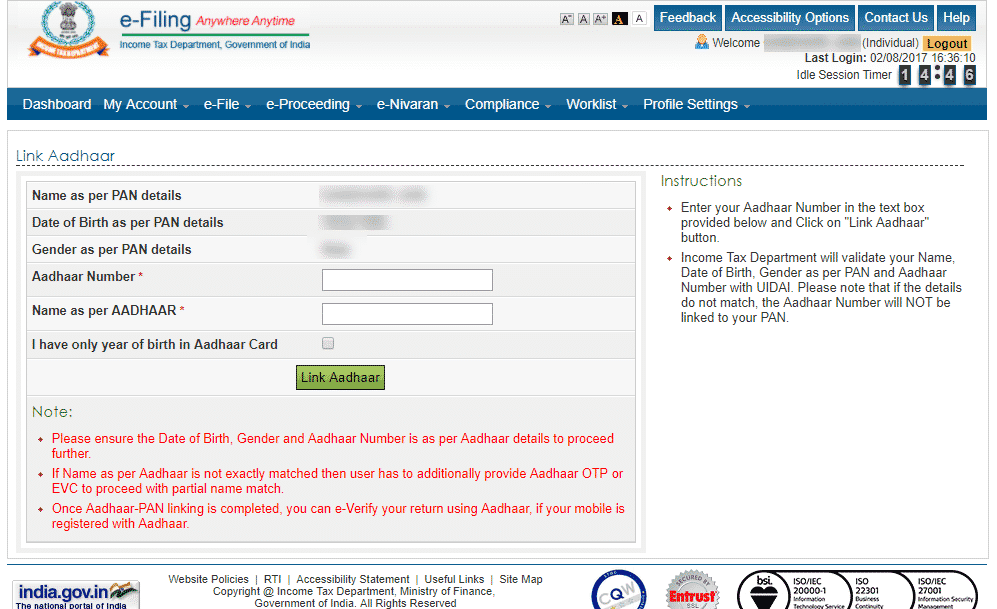 linking with aadhar with pan 4