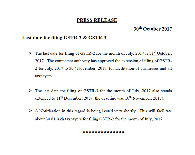 gstr 2 and gstr3 last date extended