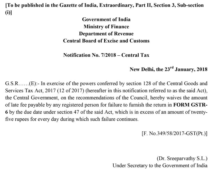 revised late fee for gstr 6