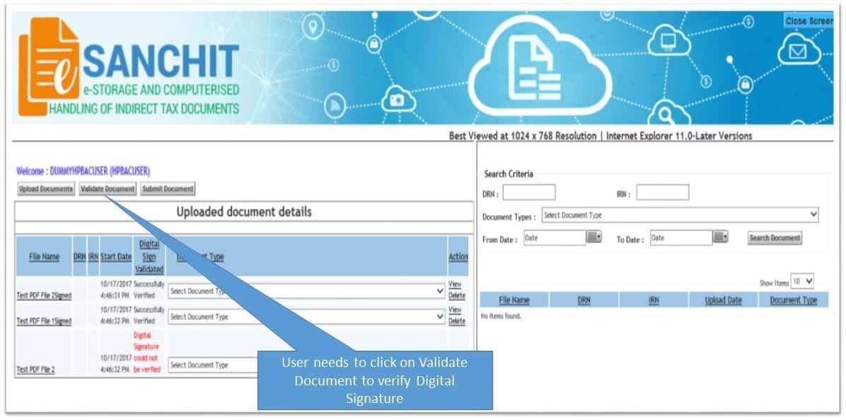 esachit document button