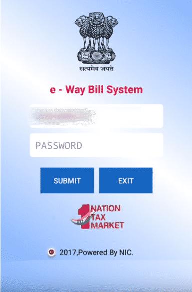 android app eway bill generation login screen