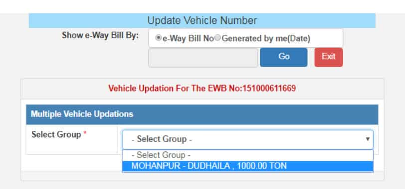 multi vehcile option for eway bill updation