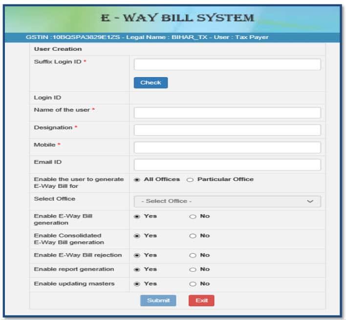 sub user details on ewayportal