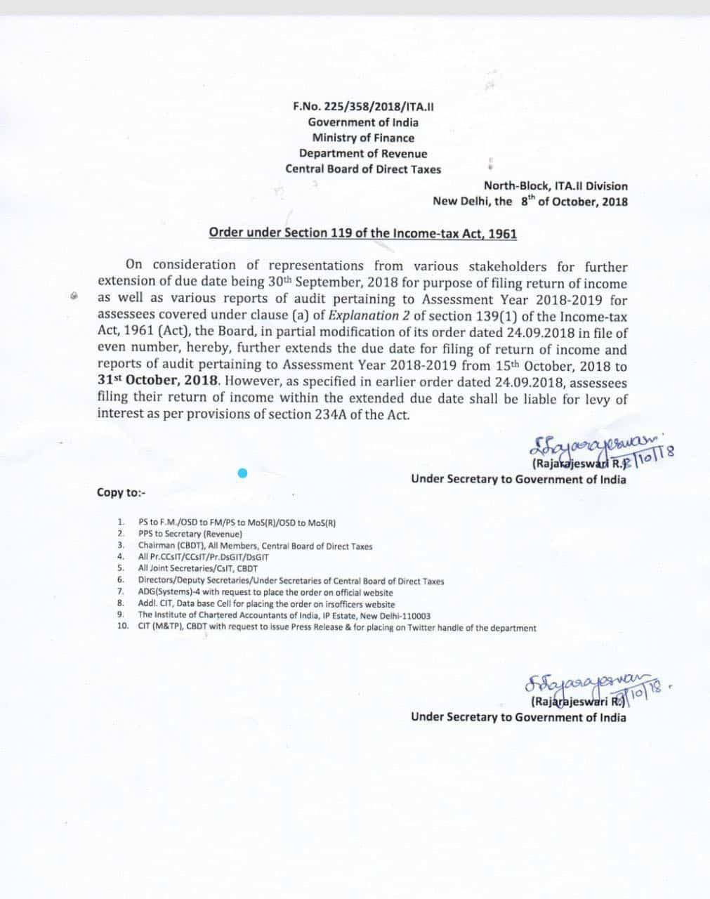 tax audit date extended to 31-10-2018