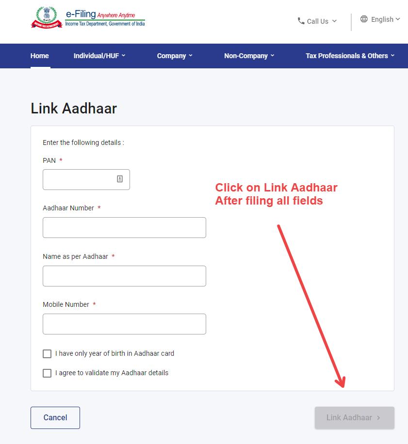 Link PAN Aadhaar
